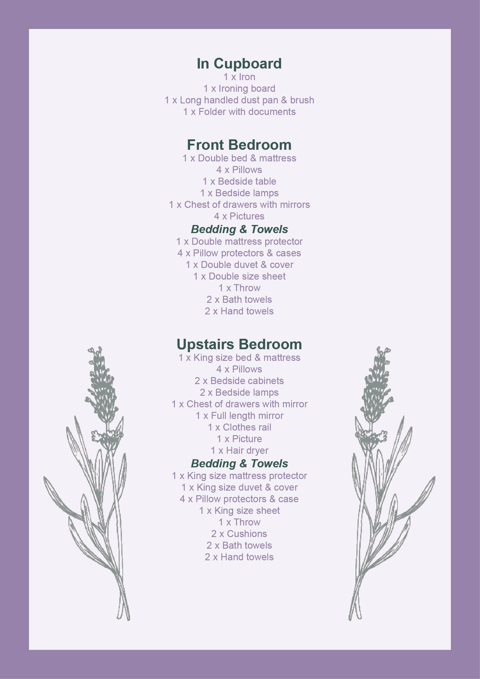Lavender Cottage Handbook Page 3